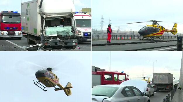 Poważny wypadek na POW. Helikopter LPR zabrał rannego