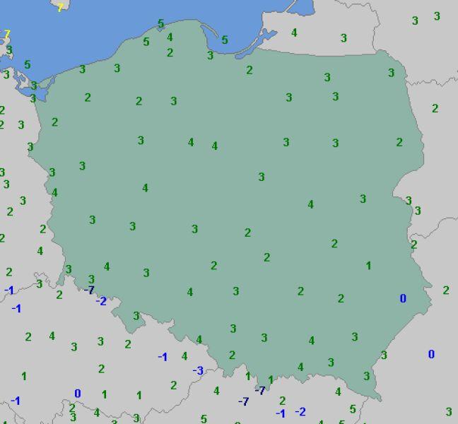 Temperatura o godz. 7 w niedzielę (wetteronline.de)