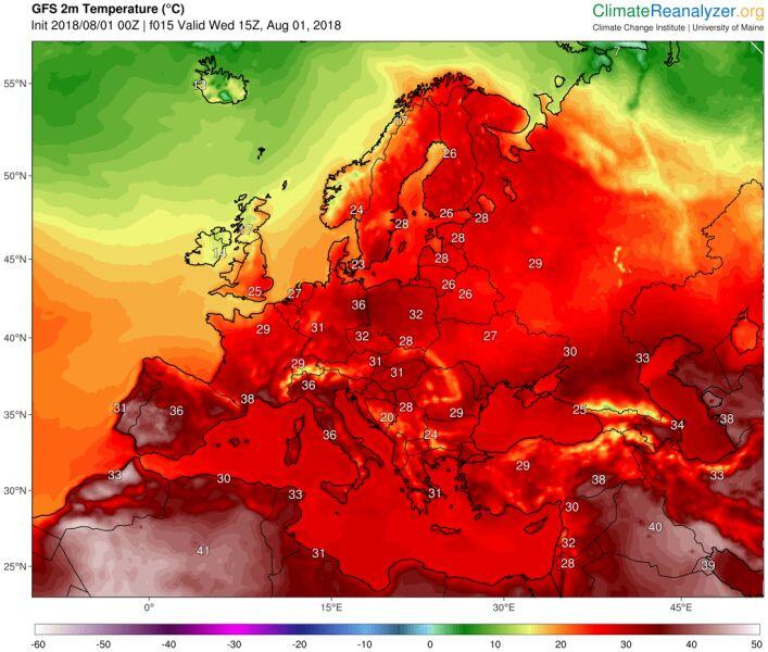 Temperatura maksymalna 1 sierpnia 2018 roku (Climate Reanalyzer (http://cci-reanalyzer.org), Climate Change Institute, University of Maine, USA)