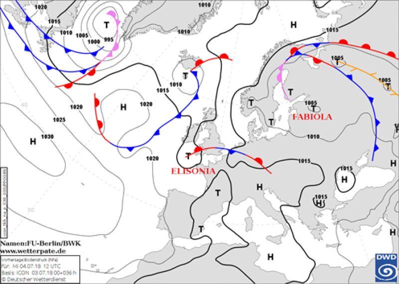 Środa w Europie - mapa pola barycznego według DWD